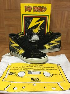 a1d0ffccd2 RARE🔥 VANS Sk8-Hi Bad Brains Supreme Sz 10 Black Cyber Yellow Men s ...