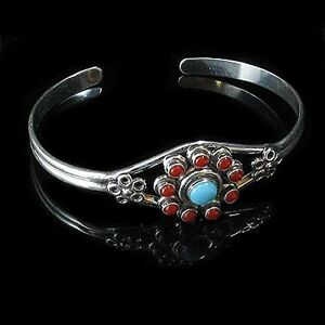 Sterling-Silver-Turquoise-Coral-Flower-Cuff-Bracelet