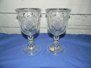 Vtg Avon 1978 Fostoria Heart Diamond Clear Wine Glass Goblet Candle Holder Set 2