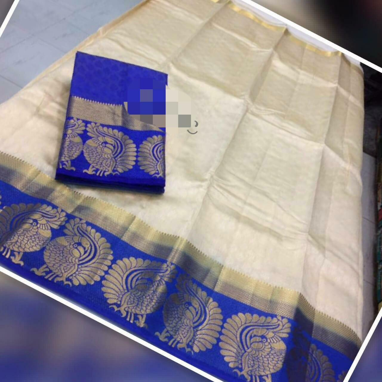 REadymade tussar silk saree with running blouse and contrast chit pallu