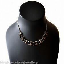 Gold Orange Choker Necklace  Antique Style Crystal Flower Design