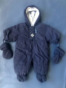 80fd81fc3 Absorba Boys Infant 3 Months Navy Blue PUFFY Full Zip Snow Suit with ...