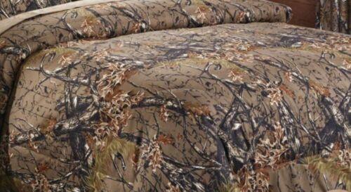 WOODLAND BROWN CAMO 7pc King COMFORTER SET BED IN A BAG SHEET SET WOODS HUNT