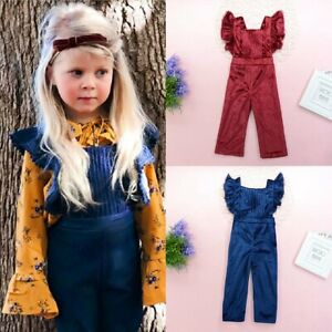 1adfe65810f Image is loading Toddler-Kids-Baby-Girls-Velvet-Overalls-Ruffles-Romper-