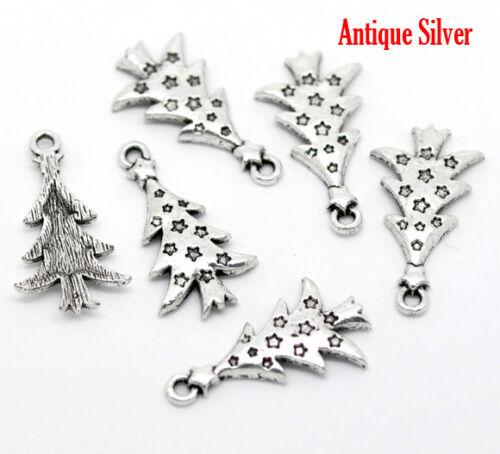10 ANTIQUE SILVER CHRISTMAS TREE CHARMS//PENDANT~26x14mm~Wine Glass Charm X90 UK