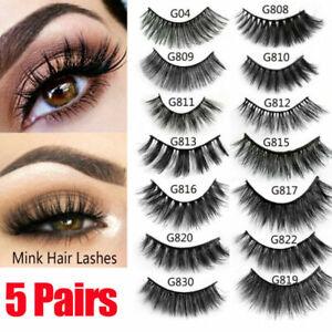 3D-Mink-Eyelashes-5-Pairs-Natural-False-Long-Thick-Handmade-Lashes-Makeup