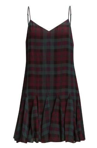 BNWT RRP  Polo Ralph Lauren 100% Silk Tartan Plaid Green Burgundy Dress UK8