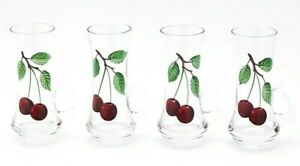 Vintage-Shot-Glass-Cordial-Hand-Made-Painted-Cherry-with-Handles-Set-of-4