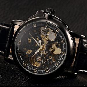 KS-Men-039-s-Automatic-Mechanical-Black-Leather-Stainless-Steel-Luxury-Wrist-Watch
