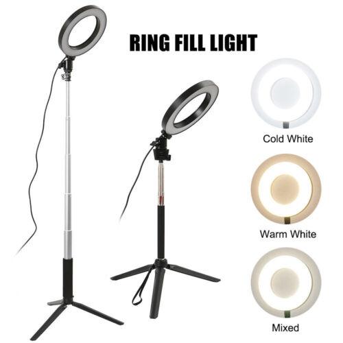 "8/"" Ring Light Dimmable Standing Light for Vlogging YouTube Video Make-up Selfie"