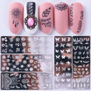 Reusable-Nail-Art-Stamping-Plates-Flowers-Nail-Stencils-Template-Gels-Polish