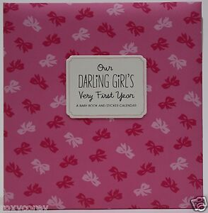 Hallmark-Our-Darling-Girl-Very-First-Year-Baby-Book-amp-Sticker-Calendar-Album-NWT