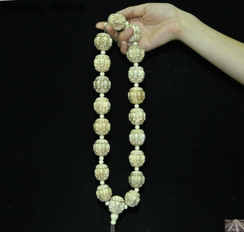 China Tibet Old temple outflow old Hand carved Eagle bone 108 Prayer beads