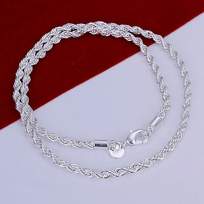 "Free shipping wholesale solid silver 4mm 16""-24"" twisted chain necklace N185"