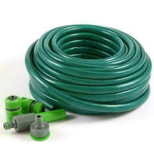 TOP QUALITY 30m Garden Hose 5pc Set Pipe Tube Spray Watering Nozzle Set Fittings