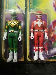 SDCC 2021 Super7 Power  Rangers Red and Green BATTLE DAMAGED ReAction exclusive