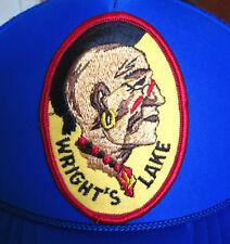 WRIGHT'S LAKE vtg trucker cap Native American patch Mohawk snapback hat BSA