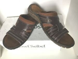 release date exclusive range great prices Details about Josef Seibel Nico Moro Kombi Brown Leather Slip On Strap  Sandals 42 US 8 - 8.5