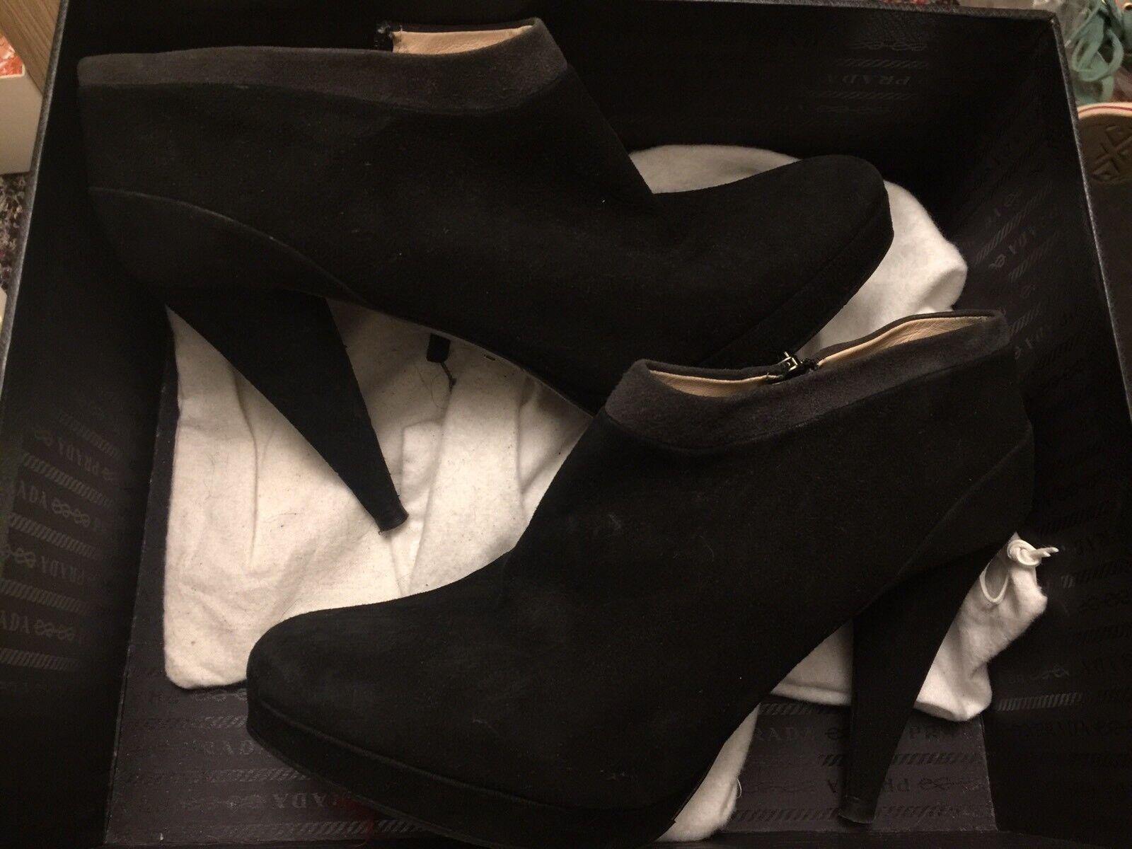 Prada Mujer Botas al Tobillo Size EU38.5 Negro Gamuza