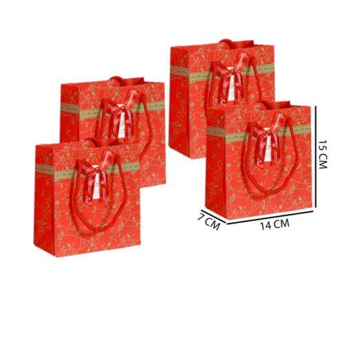 Red KRAFTZ® Christmas Xmas Party Matte Laminated 4 Gift Bags Small