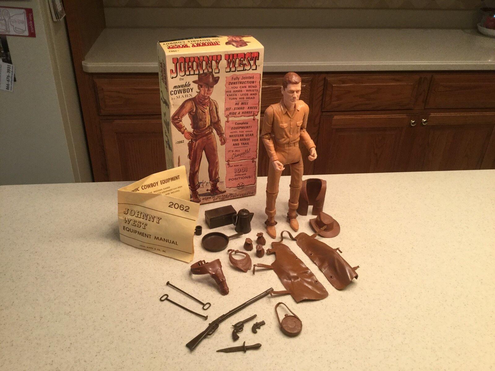 Vintage Louis Marx Johnny West Action Action Action Figure Complete W  Box Access. & Manual f66b3d