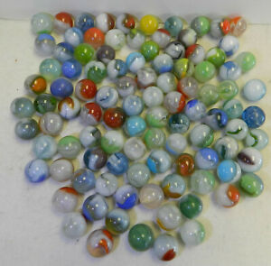 #10863m Vintage Bulk Group of 100 Mostly Vitro Agate Marbles .59 to .68 Inches