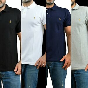 Hombres-Camisa-Ralph-Lauren-Polo-Manga-Corta-Con-Cuello-Custom-Fit-Algodon-S-M-L-XL-XXL