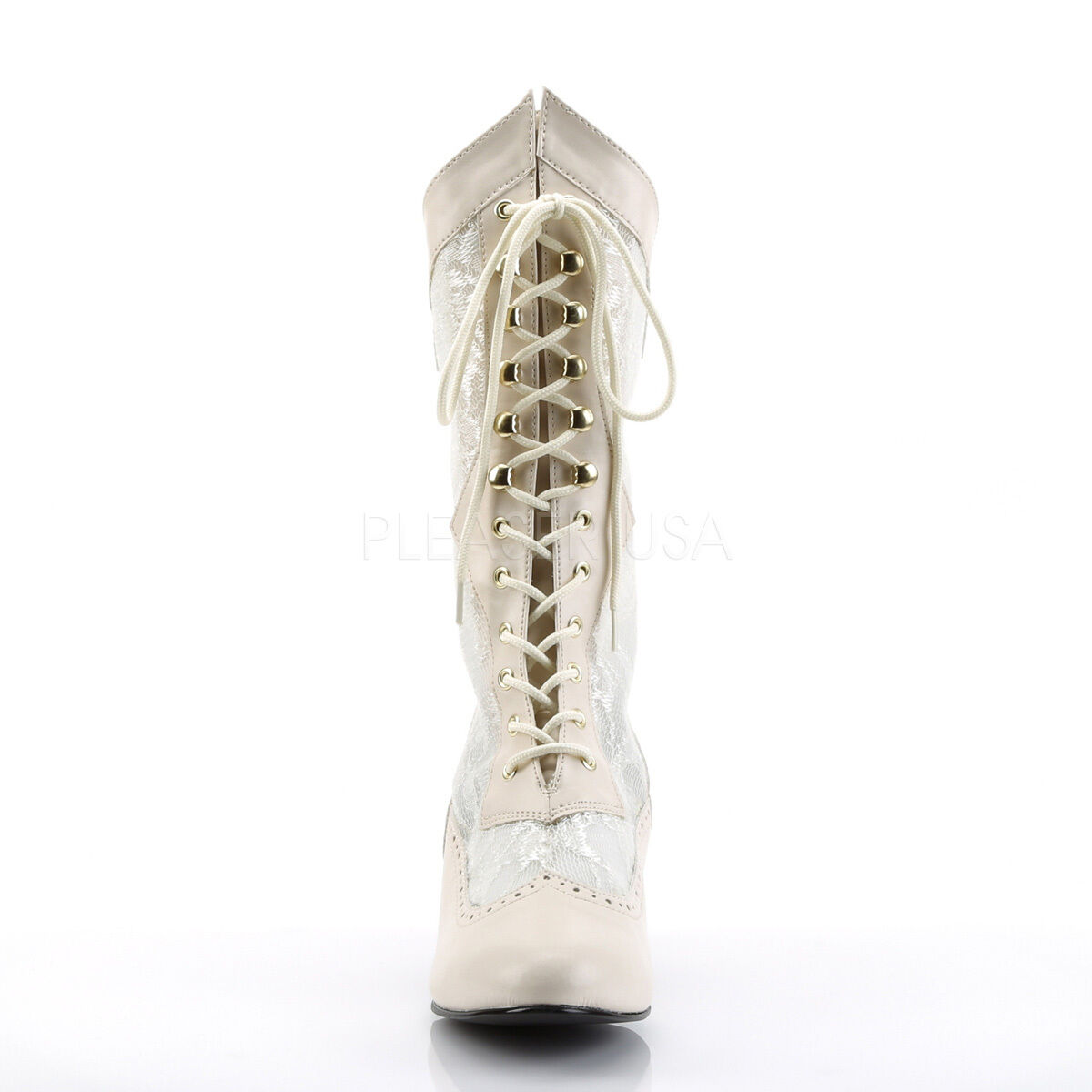 Nude Lace Up Victorian Mid Calf Steampunk Costume Stiefel Womans Schuhes 6 7 8 9