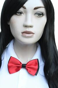 Red-Black-Waiter-Uniform-Hostess-Satin-Bow-Tie-Smart-Attire-Croupier-Cosplay