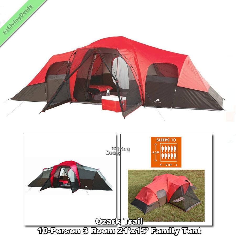 Ozark Trail 10 Person Family Tent 3 Room 21'x15' Outdoor Cabin Tents for Camping