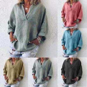 Women-Plus-Size-Long-Sleeve-Casual-Linen-VNeck-Blouse-T-Shirt-Pure-Clothes-AU