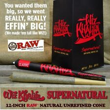 """One Pack SUPERNATURAL Pre Rolled RAW Wiz Khalifa Rolling Paper 12"""" LONG CONE"""