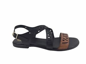 Details about Size 11 Laser Cut Flat Sandals Made in Spain Black & Tan Crossover Large Shoes