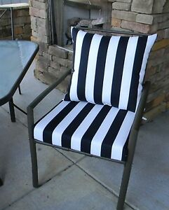 Black And White Stripe Cushion Pillow Set For Patio Dining Chair