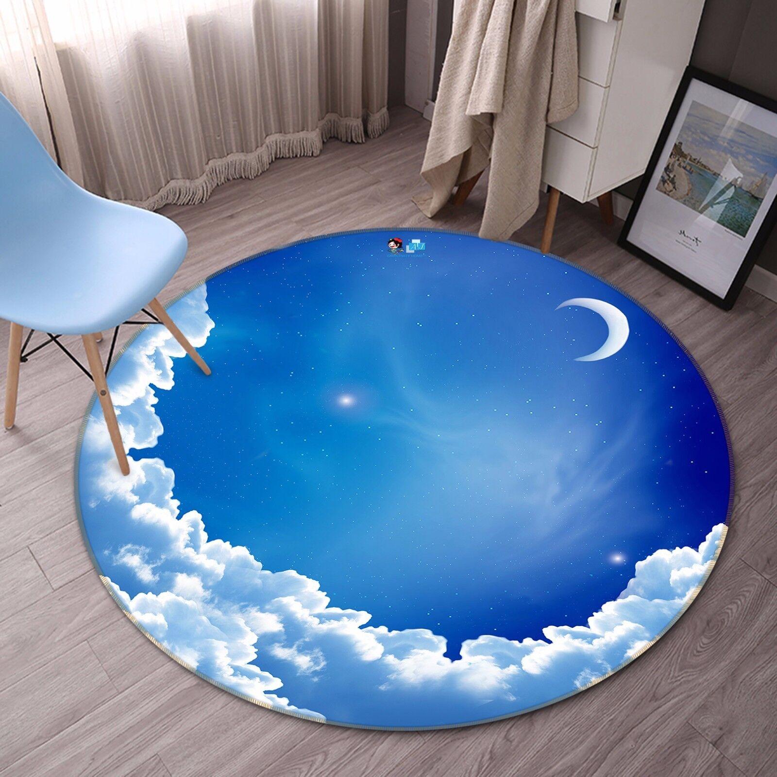 3D Moon Night Sky 732 Non Slip Rug Mat Room Mat Round Elegant Photo Carpet CA