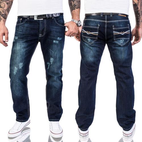 Rock Creek da Uomo Designer Denim Jeans Pantaloni Spessore Cuciture Ornamentali w29-w44 Nuovo Multi