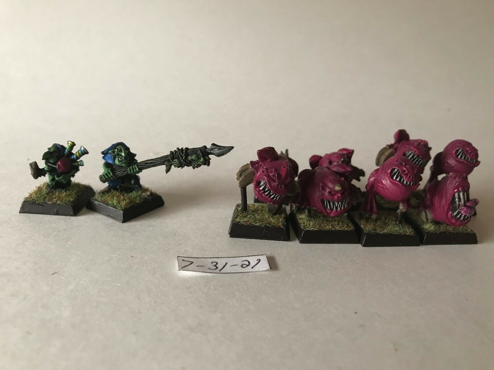 Warhammer Orcos y Goblins-Squig pastores-Cave squigs-finecast x8
