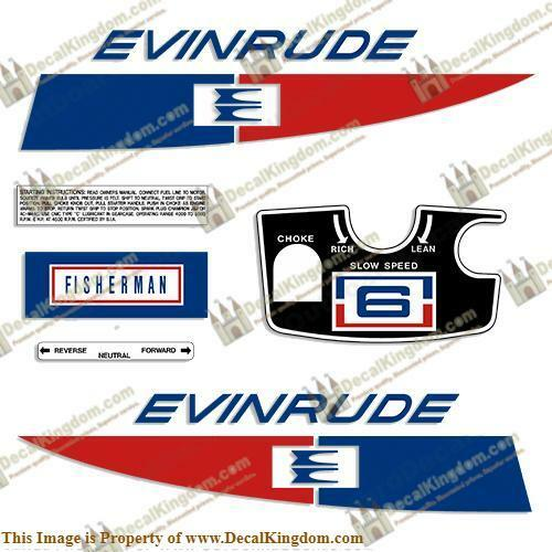 Evinrude 1971 6hp Outboard Decal Kit 3M Marine Grade