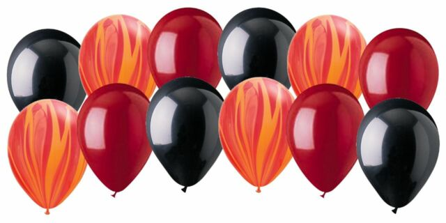 12 pc Rock & Roll Inspired Agate Latex Balloons Party Decoration Fire Pirate