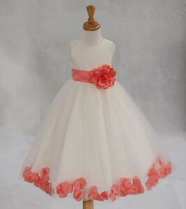 Flower Girl Dress Toddler Birthday Bridesmaid Red Blue Ivory Yellow