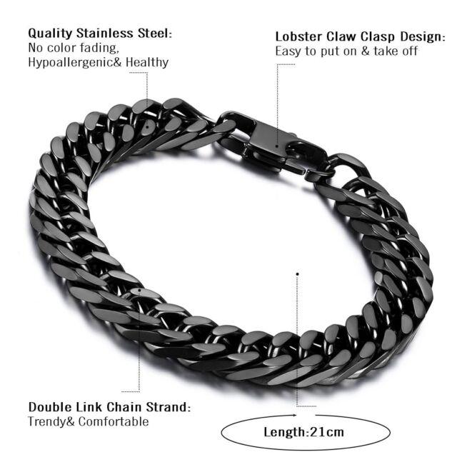 Mens Biker 10mm Wide Black Heavy Stainless Steel Curb Link Chain Bracelet 8