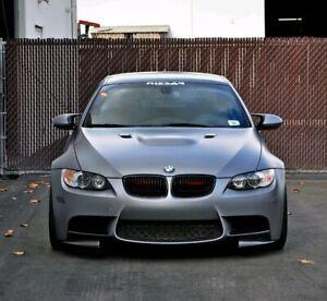 08-13-BMW-E92-M3-2pc-Delantero-Parachoques-Labio-Polainas-extensiones-Divisor-PU-Negro-nuevo-Reino