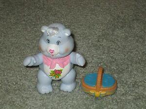 "VINTAGE CARE BEARS 4"" GRAM'S BEAR POSEABLE & BASKET ACCESSORY 1984"