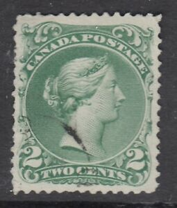 """Canada Scott #24  2 cent green """"Large Queen""""  F-VF"""