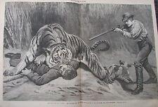 JOURNAL DES VOYAGES N° 177 de 1880 ASIE GRAVURE de CHASSE ATTAQUE DE TIGRE