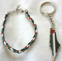 Lot Of 2: Palestine Map Flag Keychain, Braided Palestine Flag Bracelet 13