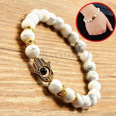 Men's White Howlite Gemstones Golden Hamsa Beaded Protection Bracelet 8mm Beads