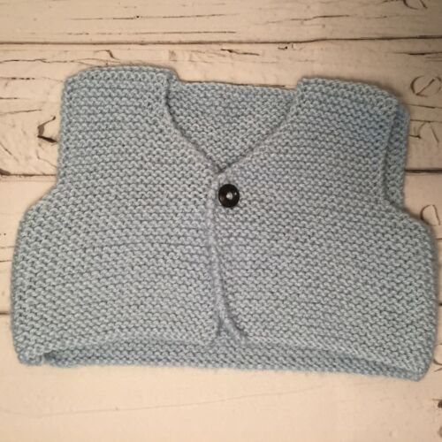 THREE SIZES Hand knitted baby body warmer//vest THREE COLOURS
