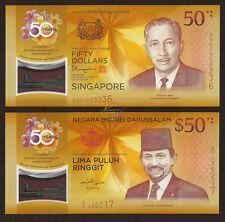 Polymer UNC 6.2007 Brunei P34a 20 Ringgit 2007 Brunei-Singapore Commemorative