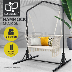 Gardeon Hammock Chair With Stand Macrame Outdoor Swing Double